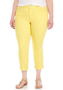 Crown & Ivy™ Plus Size Colored Cropped Denim Jeans