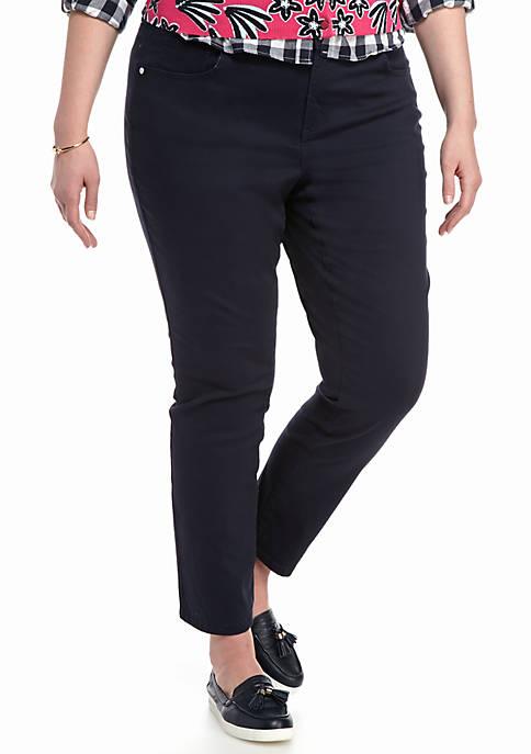 Plus Size Color Twill Pants