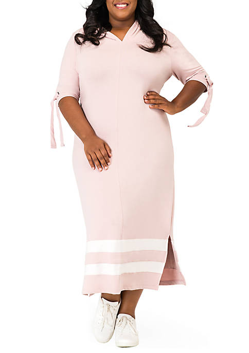 Rima Hooded Maxi Back Cut Out Side Slit Dress