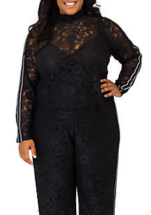 Poetic Justice Plus Size Justine Lace Turtleneck Top