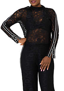 Poetic Justice Justine Lace Turtleneck Top