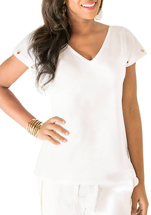 Poetic Justice Kira French Terry Grommet Top