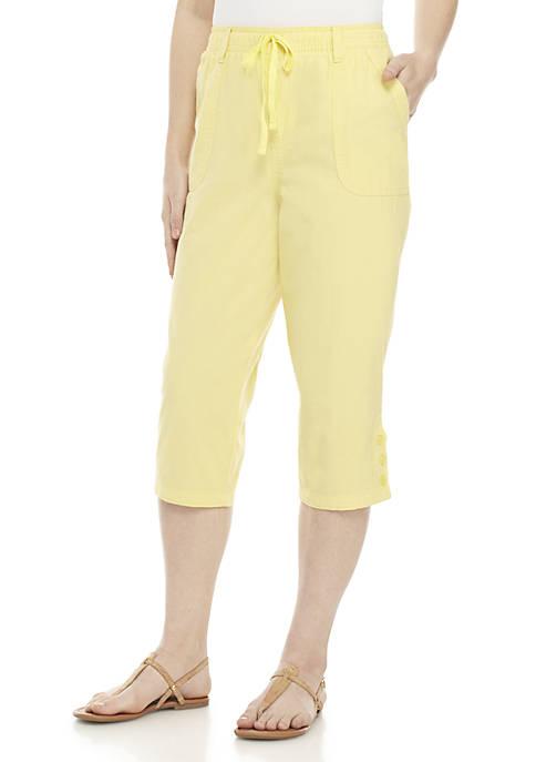 Kim Rogers® 3-Button Sheeting Capris Pants