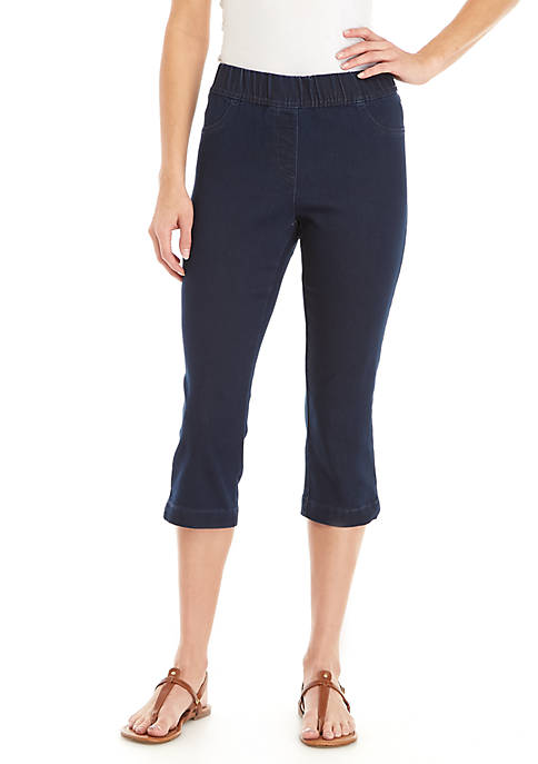 Kim Rogers® Knit Denim Pull-On Capris Pants