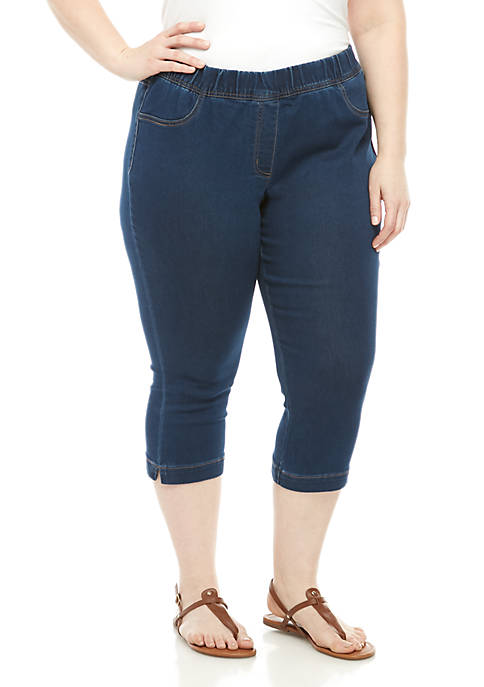Kim Rogers® Plus Size Pull On Knit Capris