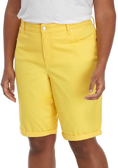 Kim Rogers® Plus Size Rolled Cuff Bermuda Shorts