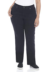 Plus Size Hidden Elastic Waistband Straight Leg Jean - Average
