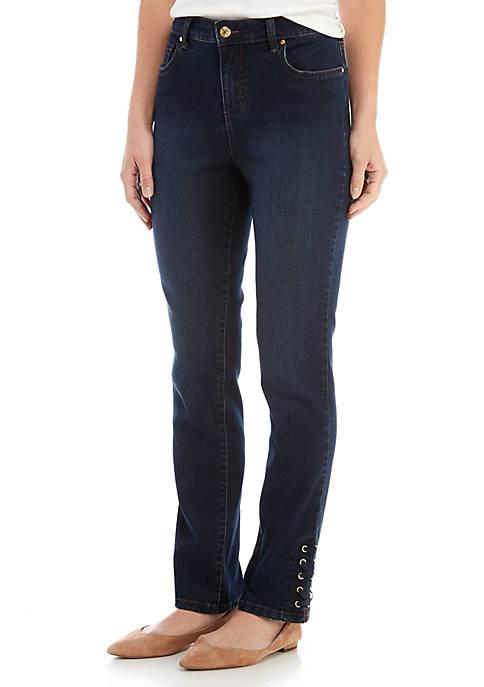 Kim Rogers® Super Stretch Lace-Up Denim Jeans