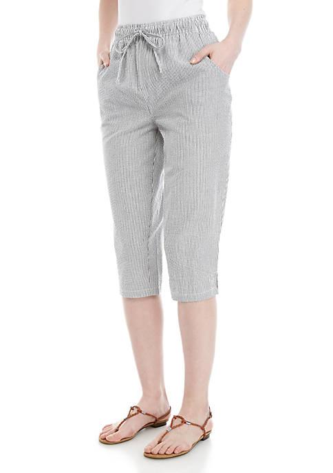 Kim Rogers® Marjoie Seersucker Stripe Capri Pants