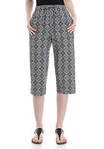 Kim Rogers® Majorie Woodcut Stamp Print Capri Pants