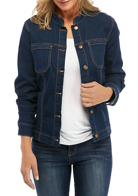 Womens Mandarin Collar Denim Jacket