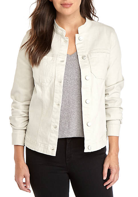 Kim Rogers® Womens Mandarin Collar Twill Jacket