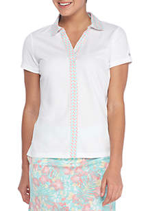 Short Sleeve Polo With Print Placket Trim