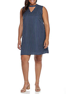Plus Size Vertical Stripe Swing Dress