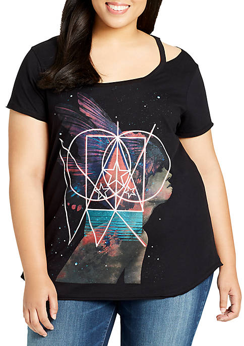 WILLIAM RAST™ Plus Size Riot Cutout Graphic Tee