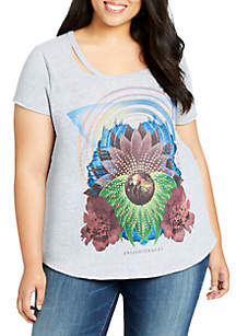 Plus Size Riot Cutout Graphic Tee