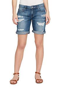Distressed Cuff Bermuda Shorts