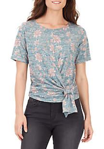 Aubrey Floral Tie Front Knit Top