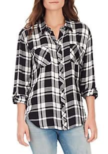 Carina Roll Sleeve Plaid Shirt