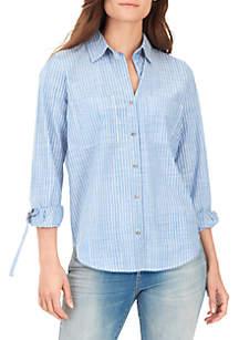 Carina Roll Sleeve Stripe Shirt