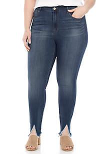 Plus Size Split Fray Hem Jeans