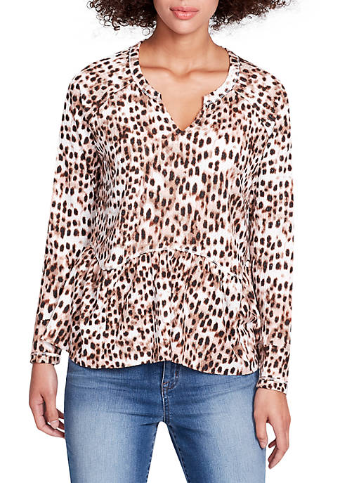 Gryphon Peplum Waffle Knit Leopard Top