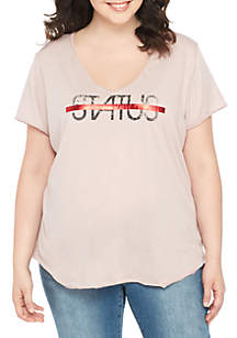 Plus Size Stardust Status Graphic Tee