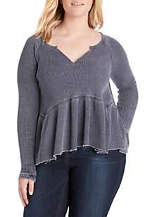 Plus Size Long Sleeve Peplum Waffle Knit Top