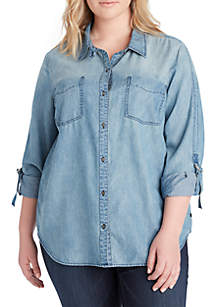 Plus Size Carina Roll Sleeve Denim Shirt