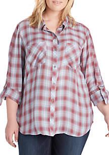 Plus Size Carina Roll-Tab Sleeve Plaid Shirt