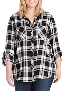 Plus Size Carina Button Down Plaid Shirt