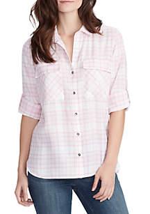 WILLIAM RAST™ Dalila 2-Pocket Roll-Tab Sleeve Woven Stripe Top