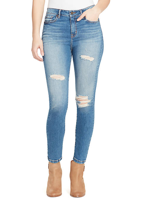 High Rise Ankle Skinny Destroy Jeans
