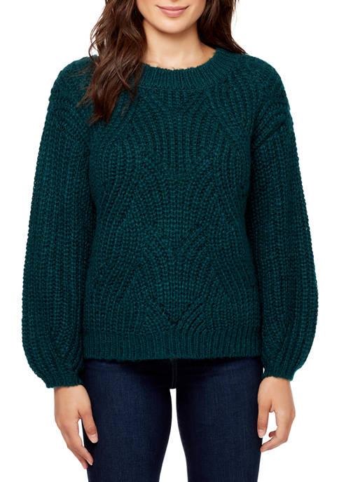 Womens Heidi Wavy Ribbed Crew Neck Sweater