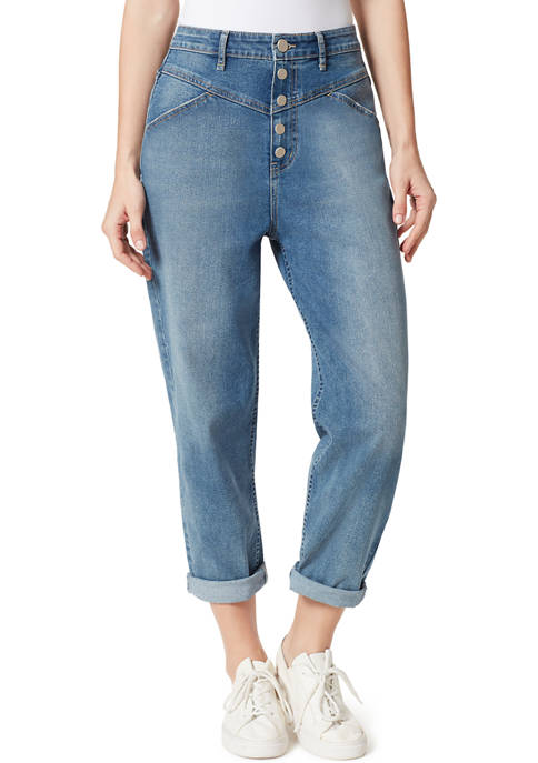 Frayed Womens 5 Button Tapered Ankle Length Jeans