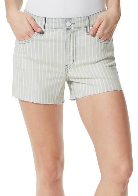 Frayed High Rise Denim Shorts