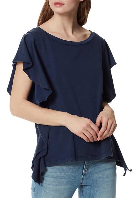 Frayed Womens Flutter Sleeve Cotton Top