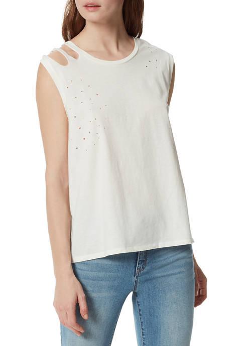 Frayed Womens Sleeveless Distressed T-Shirt