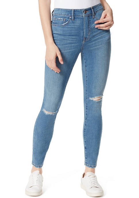 Frayed Womens High Rise Skinny Jeans