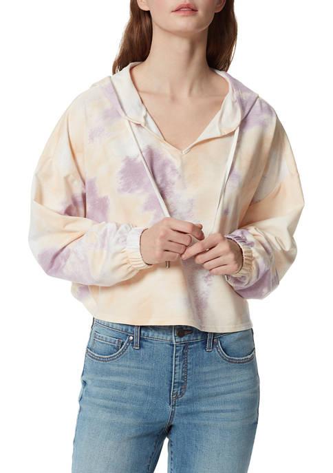 Frayed Womens Tie Dye Cropped Hoodie