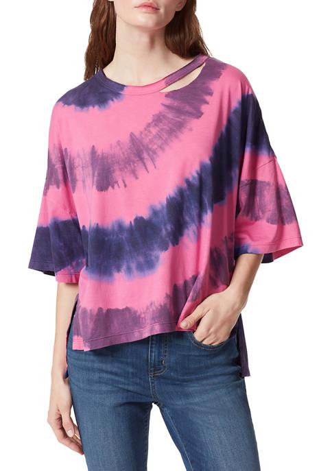 Frayed Womens Drop Shoulder Tie Dye Top