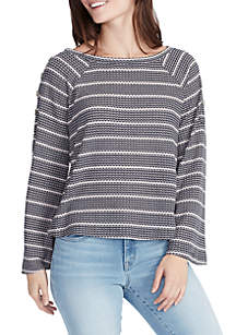 Cary Long Sleeve Stripe Waffle Thermal Top