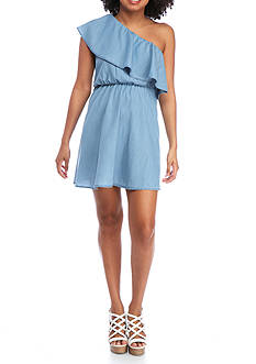 Red Camel® One Shoulder Chambray Dress