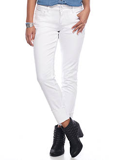 Red Camel® Raw White 4 inch Cuff Ankle Jeans