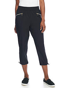 Stretch Woven Solid Capri Pants