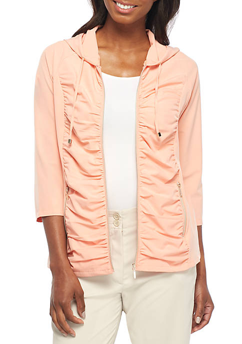 New Directions® Weekend Three-Quarter Sleeve Shirred Solid Zip