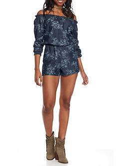 Red Camel® Chambray Print Off the Shoulder Romper
