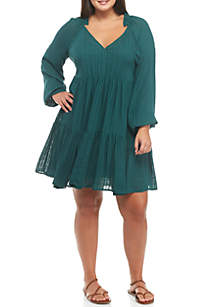 Plus Size Tiered Woven Dress