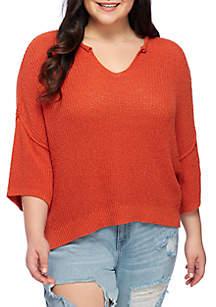 Plus Size Short Sleeve Boxy Sweater
