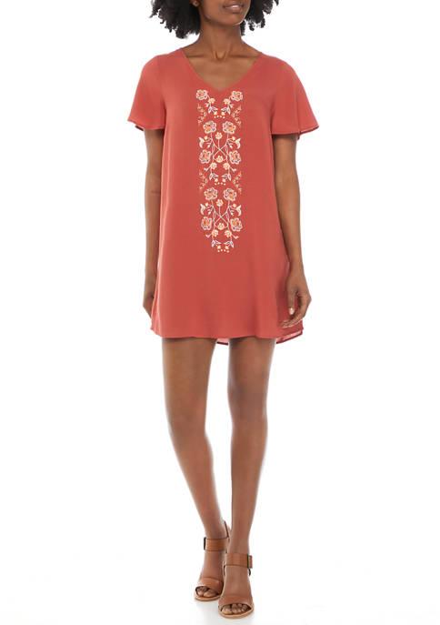 Womens Flutter Sleeve Embroidered Dress